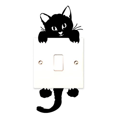Yogogo-Chat-Stickers-muraux-Interrupteur-Dcor-Stickers-Art-Mural-Noir