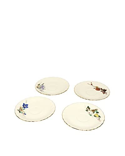 Vintage Hand-Painted Plates, Ivory/Multi