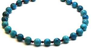 Turquoise Necklaces 12mm Genuine Sleeping Beauty Turquoise with Ruby Quartz Beads Beaded Necklace 17