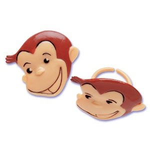 "Bakery Crafts Curious George Cupcake Rings, Approx. 1.5"", Food Safe (24 CT)"