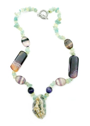 Natural Flurotite Druzy Rock with Botswana Agate Prehnite and Amazonite Handmade Gemstone Necklace