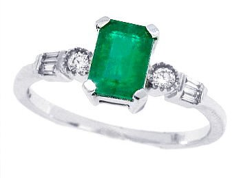 0.60ct Emerald Cut Lab-Created Emerald Ring with Diamonds,10Kt White Gold-J