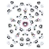 Black & White Hearts Embellished Nail Stickers/Decals