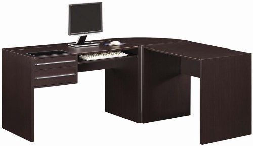 Buy Low Price Comfortable 3pc Home Office Computer Desk with Storage Drawers in Cappuccino Finish (B0057POO8M)