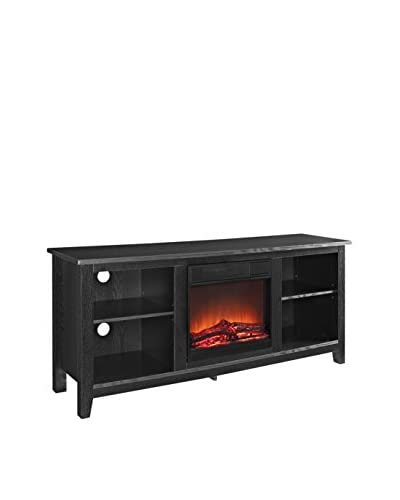 Walker Edison Wood TV Stand With Fireplace Insert, Black