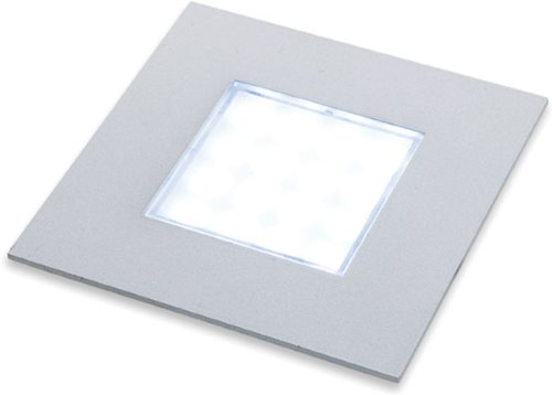 """Hafele 830.64.971 Sunny Led 2.875"""" X 2.875"""" Square Puck Recessed Mount Light Fix, Brushed Steel"""