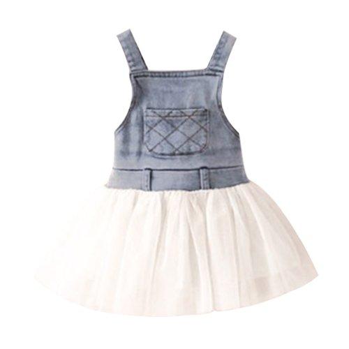 Little Hand Baby Girls' Splicing Mesh Washed Blue Denim Dresses Cami Skirt front-1075483