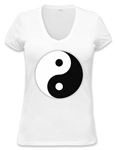 Yin And Yang Dark And Light Symbol Womens V-Neck T-Shirt Large