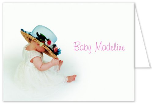 Hat And Flowers Baptism Christening Thank You Cards - Set Of 20