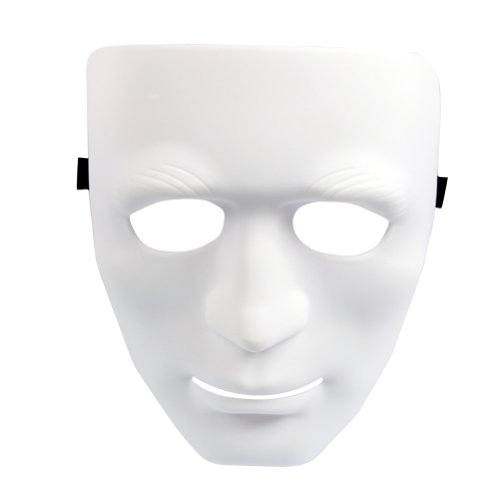 Estone Full Face Plastic Plain Mask Costume Party Dance Crew For Hip Hop Dance/Opera (Thick-White)