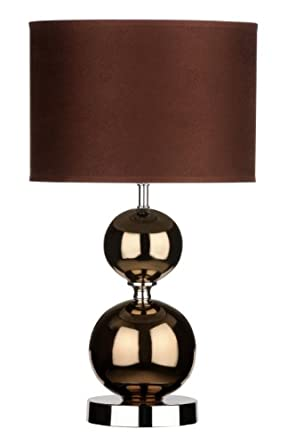 Premier Housewares Copper Ceramic Ball Table Lamp with Fabric Shade - Brown