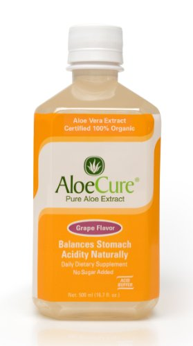 Aloecure Pure Aloe Vera Juice For Bouts Of Acid Reflux, Heartburn, And Ibs Grape, 2 Bottles