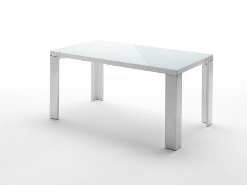 Vierfutisch-Tizio-Tischplatte-Hochglanz-wei-lackiert-Glasplatte-Beine-mit-Aluminiumapplikation-Farbe-wei-Mae-in-BHT-ca-120x76x80-cm