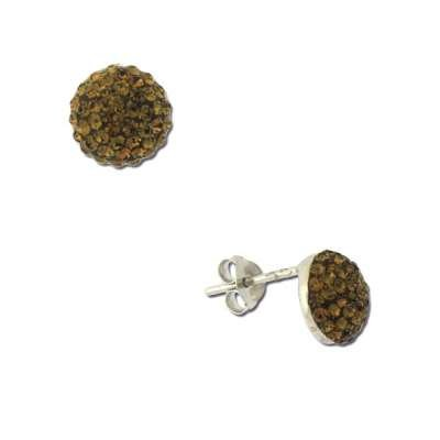 Simply Pretty Stud Earrings Crafted in 925 Sterling Silver with Small Circle Shaped Smokey Crystals(WoW !With Purchase Over $50 Receive A Marcrame Bracelet Free)