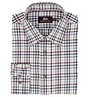 2in Shorter Pure Cotton Checked Twill Poplin Shirt