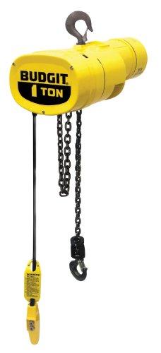 "Budgit Hoist Manguard Behc0116 Electric Chain Hoist, Three Phase, Hook Mount, Load Break, 1 Ton Capacity, 11' Lift, 16 Fpm Max Lift Speed, 1 Hp, 17-1/2"" Headroom, 1-1/4"" Hook Opening, 230/460V"