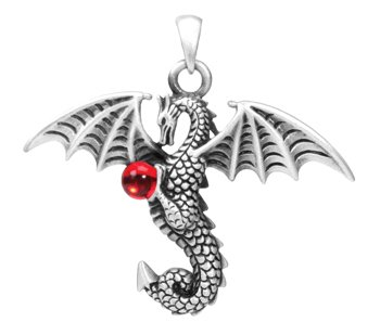 Dragon Pendant with Red Crystal - Pewter - 1.5'' Height