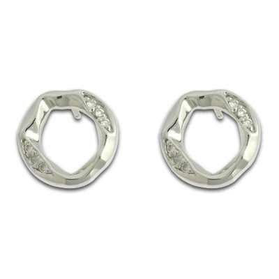 Fashionable Button Earrings 925 Sterling Silver Circle Shaped set with small CZ Bar Design(WoW !With Purchase Over $50 Receive A Marcrame Bracelet Free)
