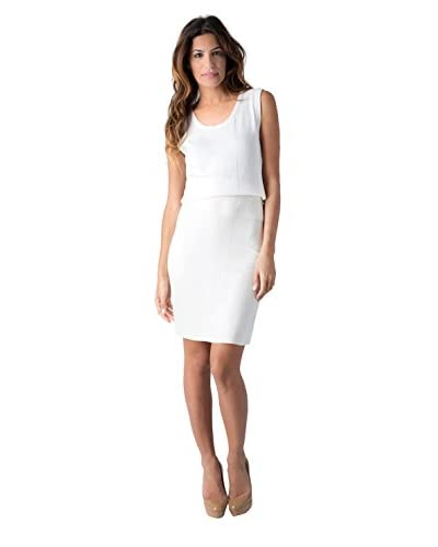 Yuka Paris Women's Solid Pencil Skirt  [Ivory]