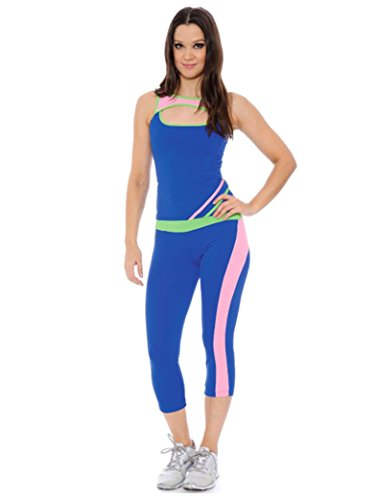 Simplicity Women's Sportswear Set Racerback Top and Capri Pants, 26 Royal, L