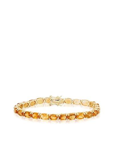 Diamante Gold Over Silver 7X5 mm Oval-Cut Citrine Bracelet