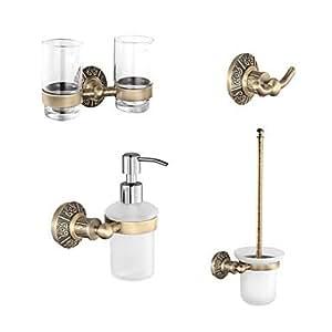 loco classic antique brass bathroom accessory set with 24