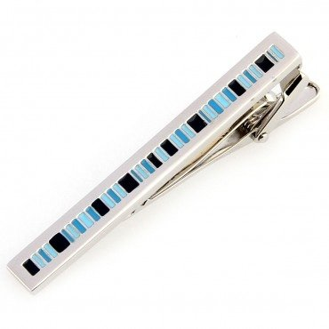 Alfred & Co. Mens Stylishly Striped Blue, Black & Silver Tie Clip with Alfred & Co. Jewellery Box
