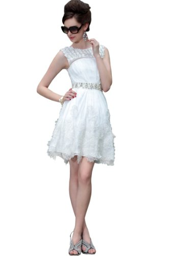 CharliesBridal White Scoop Neck Knee Length Cocktail Dress - XL - White