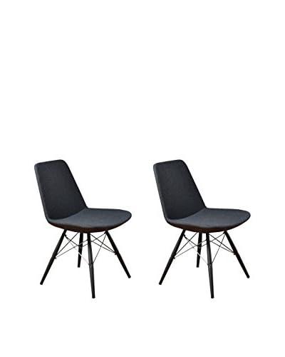 Aeon Furniture Set of 2 Paris 5 Side Chairs, Grey