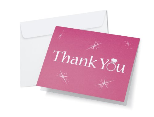 Wilton 1008-1476 All That Bling Thank You Cards for Wedding, 12-Pack - 1