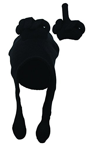 Black Middle Finger Talk Hat Novelty Squeeze Action on Tassels Adult - 1
