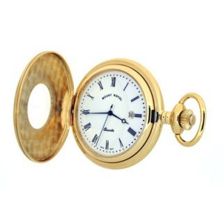 Mount Royal - Gold Plated Half Hunter Quartz Pocket Watch - B8Q - (WW1192) - 4.4cm diameter x 0.9cm depth