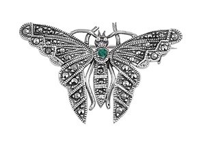 Sterling Silver Butterfly Brooch With Emerald Colored CZ -24mm Height
