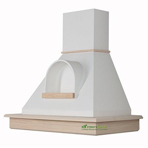 Cappa cucina rustica legno mod.Stock 90 parete - frassino grezzo e cono bianco con nicchia ...