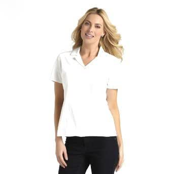 Basic editions women 39 s button front short sleeves camp for Women s long sleeve camp shirts