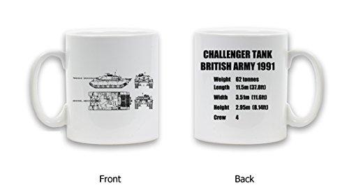 Challenger serbatoio stampato in ceramica tazza da caffè tè, pesante regalo bianco