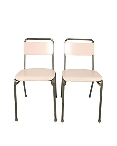 Pair of Swedish Bistro Chairs, Pink/Gray