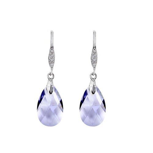Swarovski Tanzanite Crystal Elements Sterling Silver Earrings