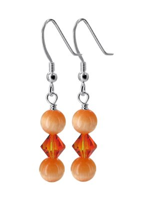 SCER338 Made with Swarovski Elements Crystals & Orange Cats Eye Beads .925 Sterling Silver Fish Hook Back findings 1.5