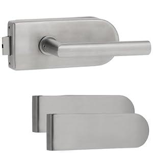 Glastürbeschlag D Set UV Edelstahl matt + 2tlg. Bänder Glastürschloss Glastürbeschläge  BaumarktKundenbewertung und Beschreibung