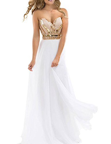 TrendProm Women's Prom Dresses A Line Chiffon Beaded Bodice Evening Gowns Size 6 US White