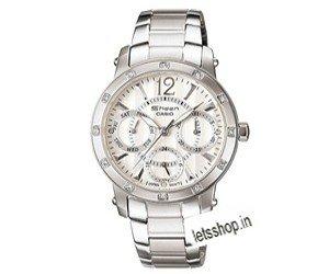 Casio Women's SHN-3012D-7A Silver-Tone Shell White Dial Watch