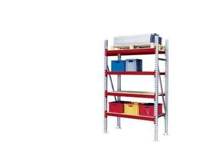 Weitspann-Grofachregal-Feldlast-max-4000-kg-HxBxT-2500-x-1350-x-800-mm-Grundfeld-rot-RAL-3000-Breitfachregal-Fachbodenregal-Fachregal-Fachregale-Grofachregal-Industrieregale-Komplettregal-Metallregal-