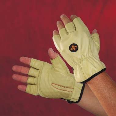 Carpel Tunnel Glove, Half Finger, Cowhide Leather, Elastic Wrist, Medium front-56807