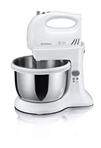 Severin HM 3816 Hand Mixer Set, Stainless Steel Mixing Bowl, 3 L, white / gray
