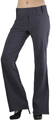 ToBeInStyle Women's High Waist Boot-Cut Dress Pants - Charcoal - Large (Womens Casual Pants compare prices)