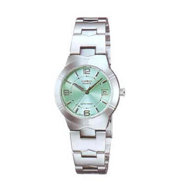 Casio Women's Core LTP1241D-3A Silver Stainless-Steel Quartz Watch with Green Dial