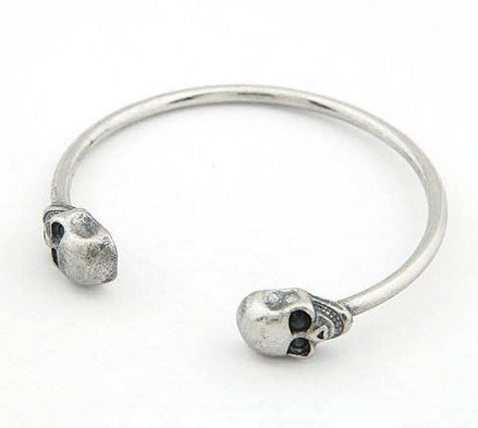 skull skeleton fashion silver tone ringent cuff bangle bracelet