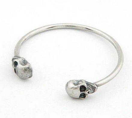 skull skeleton fashion silver tone ringent cuff bangle bracelet