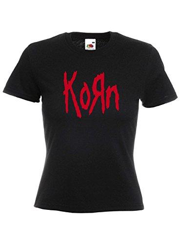 T-shirt Donna Korn - maglietta rock 100% cotone LaMAGLIERIA, S, Nero